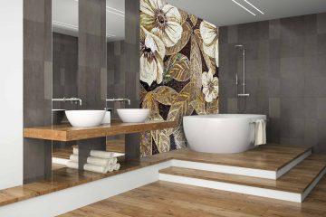 Bathroom mosaic backsplash by Mosaics Lab