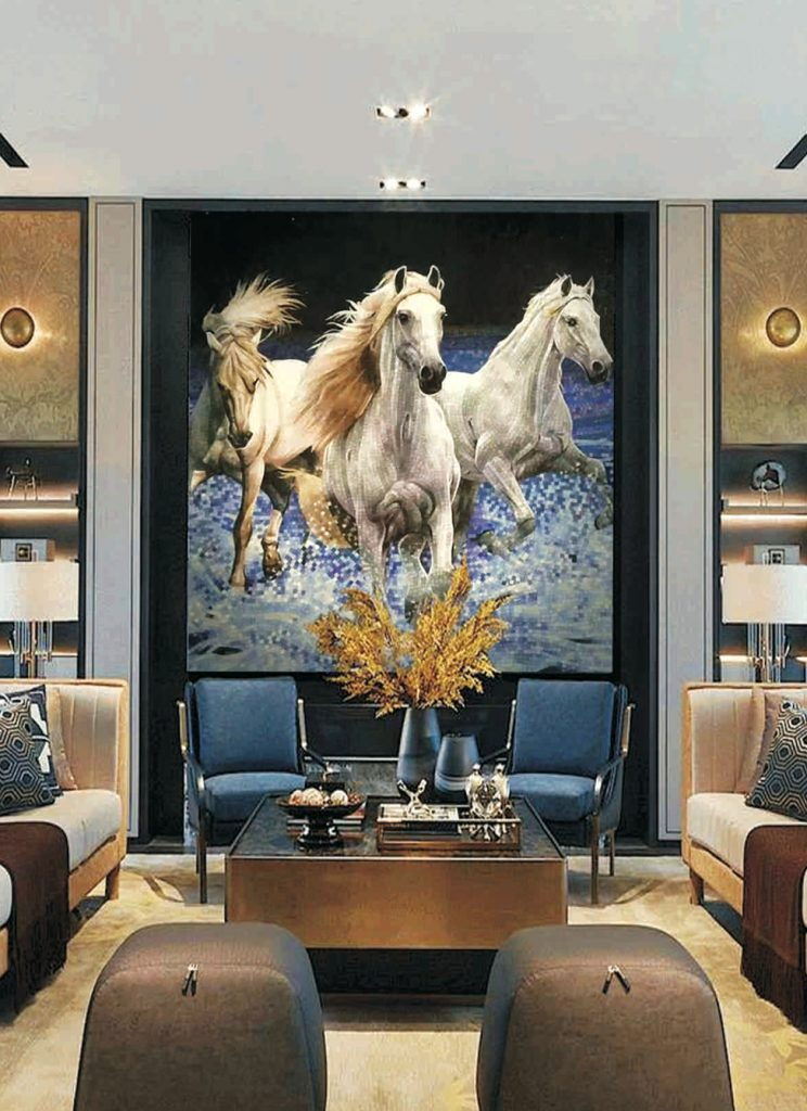 Gorgeous Horse mural for living room. Horse Mural by Mosaics Lab