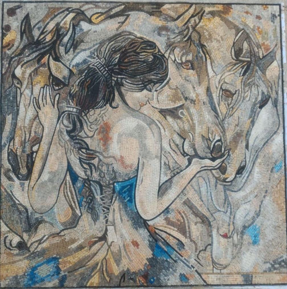 Beautiful Horse Mosaic Artwork of Lady Godiva by Mosaics Lab