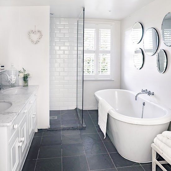 White bathroom interiors