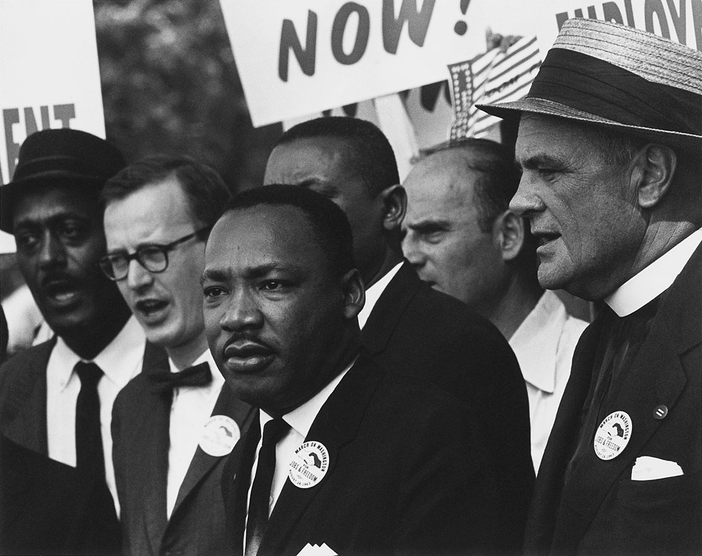 A photograph showcasing Martin Luther King Jr.