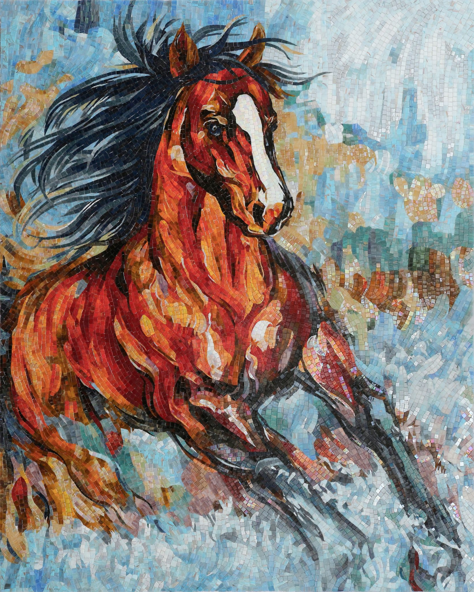 Horse Mosaic Mural by Mosaics Lab