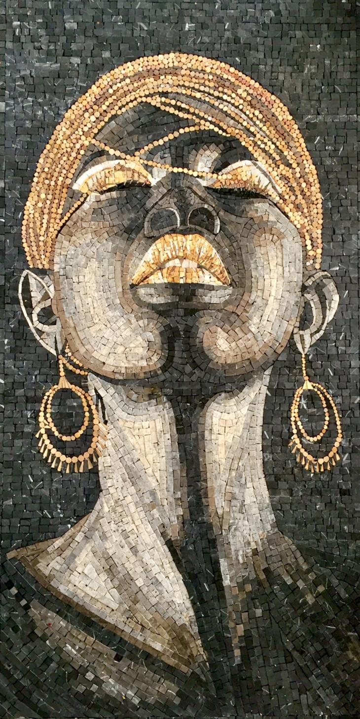 Black and regal mosaic design that features a black woman