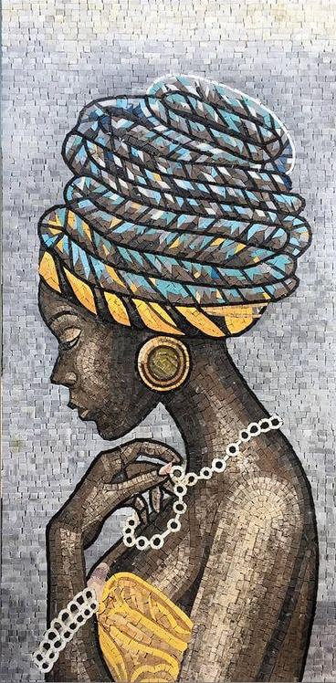 Elegant mosaic portrait of a black woman of a black woman by Mosaics Lab