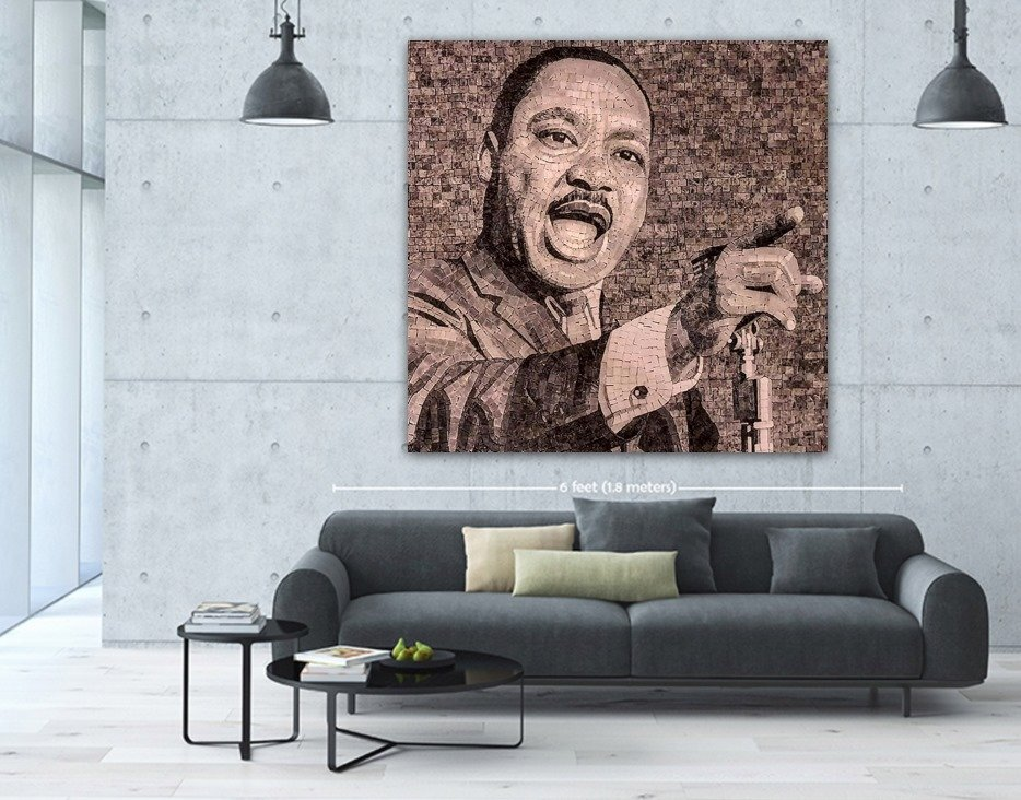 Handmade Mosaic design of Martin Luther King Jr. by Mosaics Lab