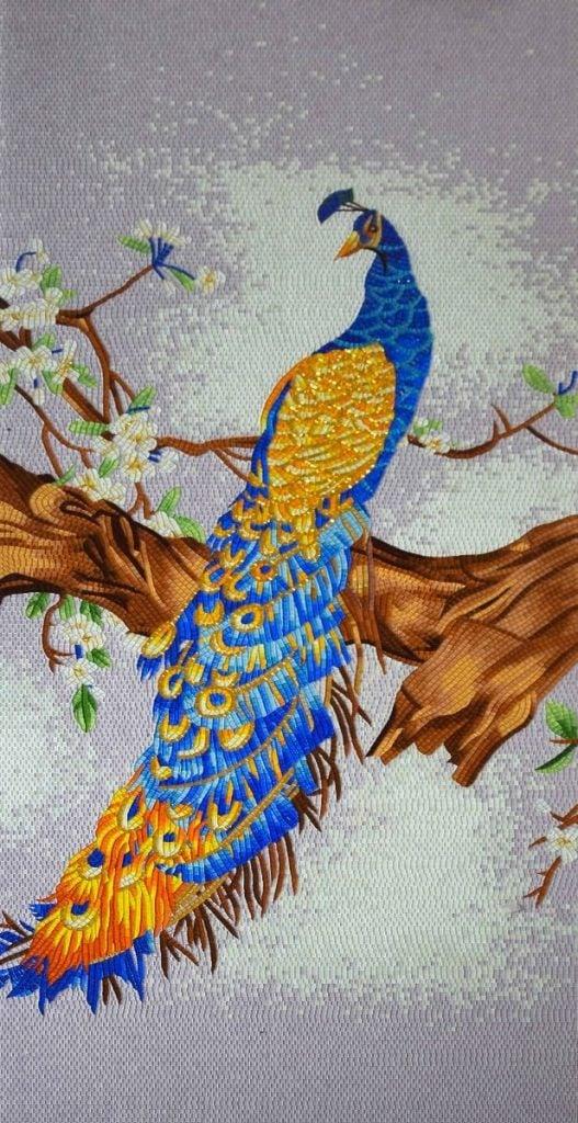 Peacock Mosaic Artwork, Peacock Mosaic Murals, Peacock Artwork