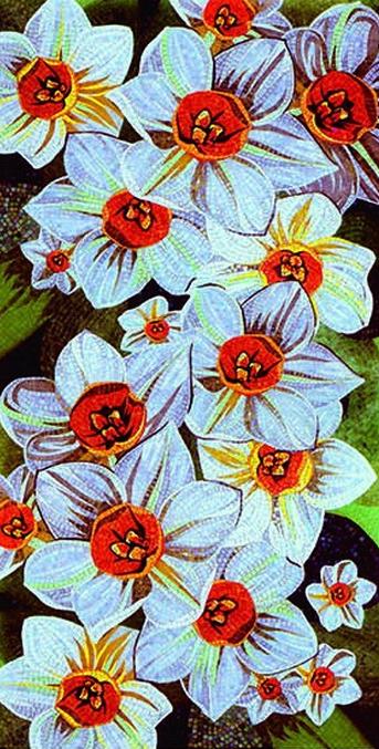 Floral Mosaic Artwork, Floral Mosaic Designs, Mural Mosaic Art