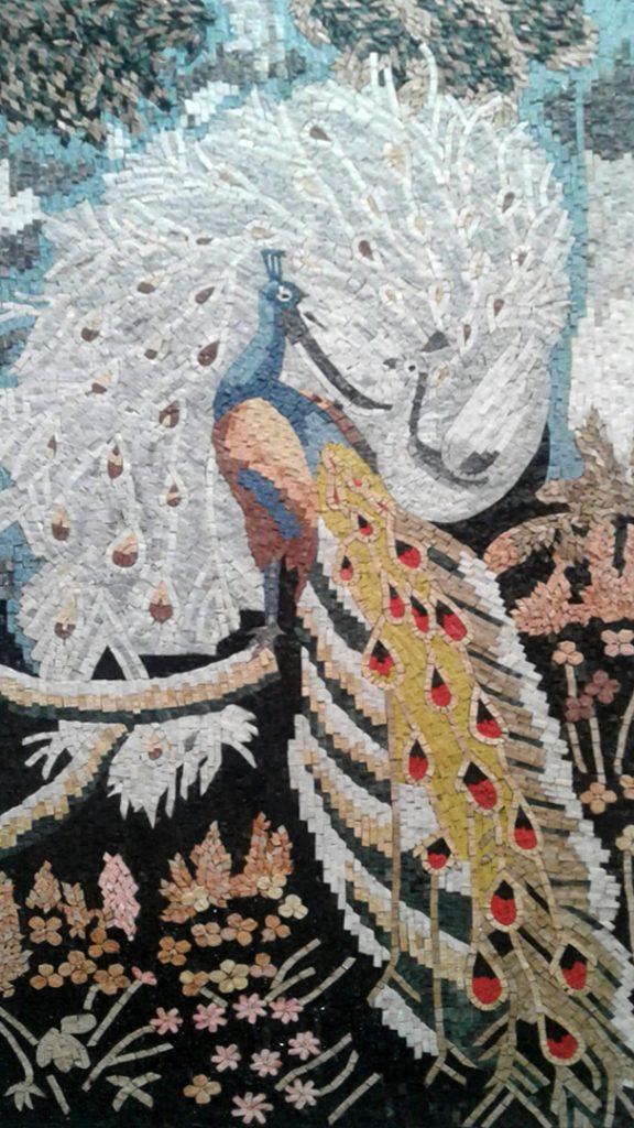 Peacock Mosaic Artworks, Peacock Mosaic Murals, Peacock Designs