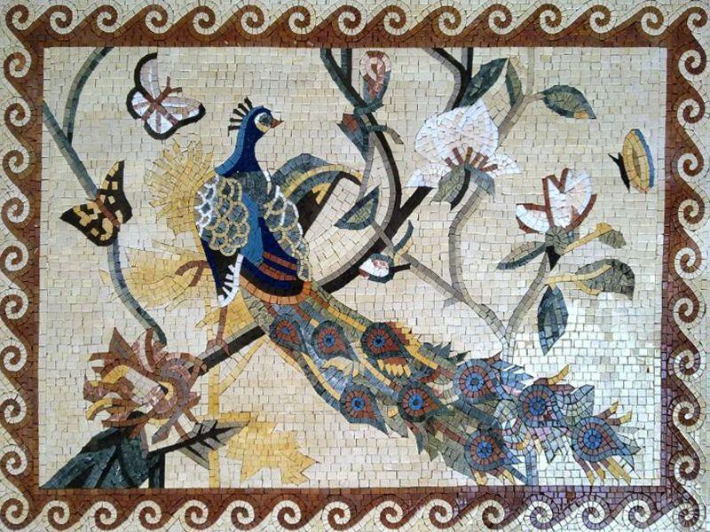 Peacock Mosaic Artwork, Peacock Mosaic Murals, Peacock Designs