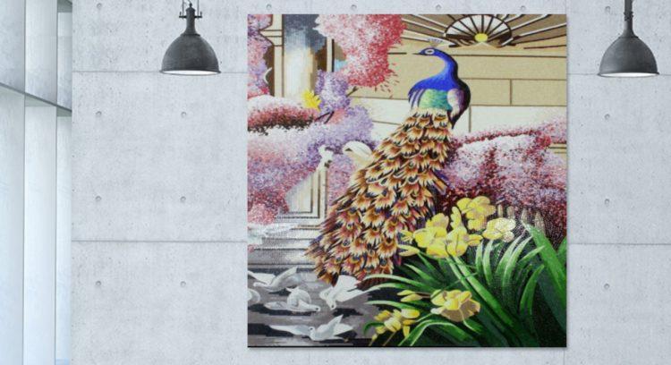 Peacock Mosaic Murals, Peacock Mosaic Artworks, Peacock Designs