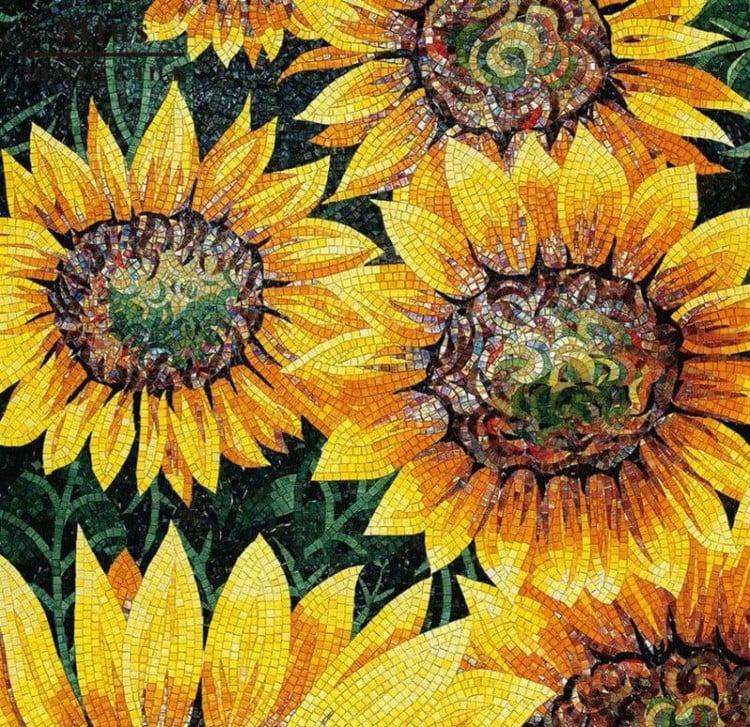 Handmade floral mosaic mural by Mosaics lab