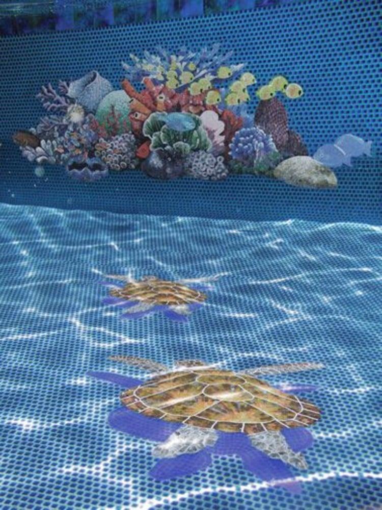 Pool mosaic artwork