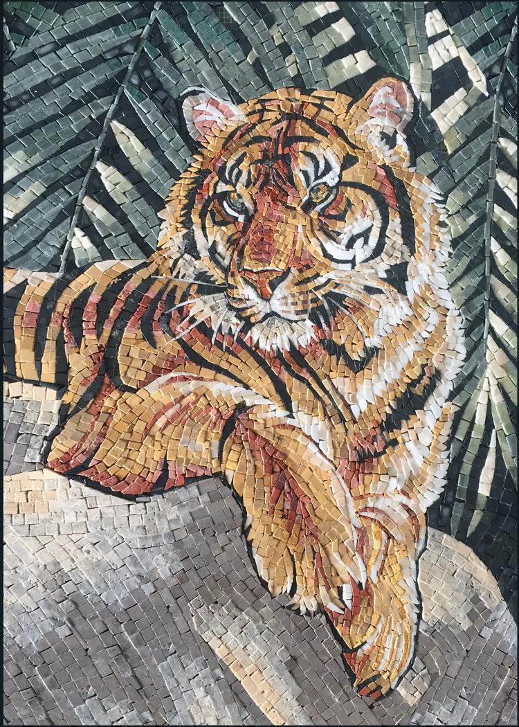 Tiger Mosaic Mural Art