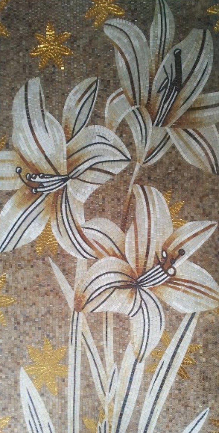 Mosaic lilies, Flower Mosaic Designs, Flower Mosaic Murals