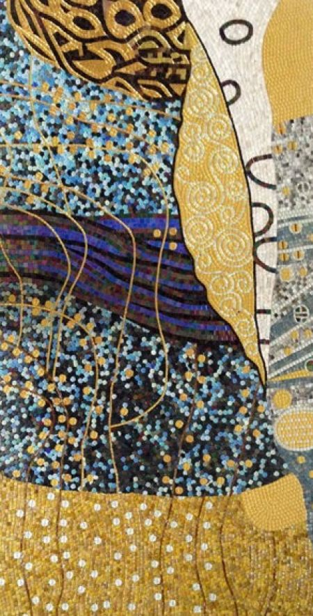 Gold-Blue Mosaic Abstract