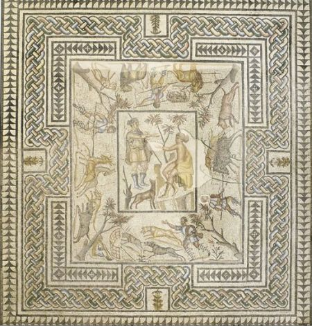 Roman Hunt Mosaic Tapestry
