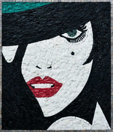 Retro Girl Mosaic Art