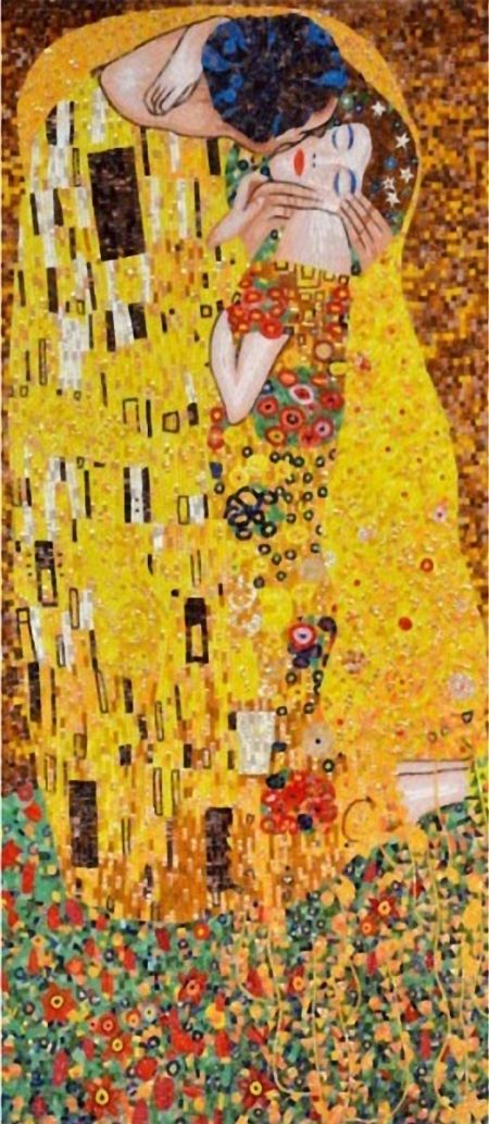 Klimt's Kiss Mosaic Artwork