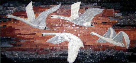 Migrating Swans Mosaic Artwork