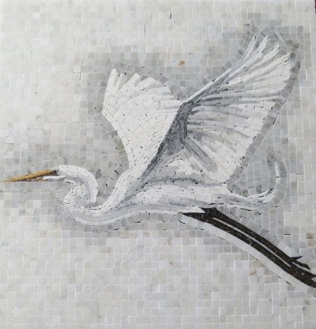 Devoted Crane Marble Mosaic