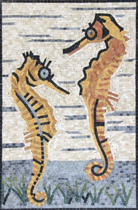 Happy Seahorses Mosaic Artwork
