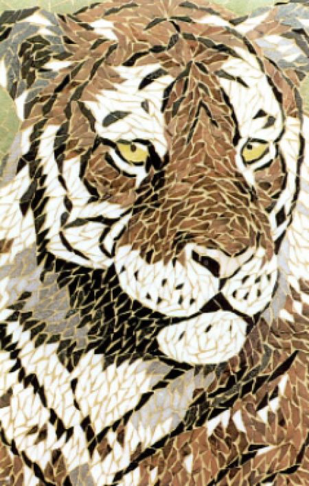 Majestic Tiger Mosaic Artwork