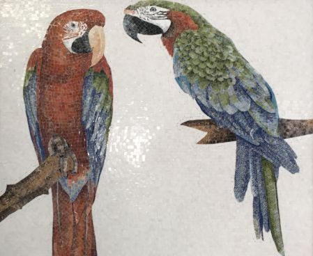 Pair of Macaws Mosaic Art