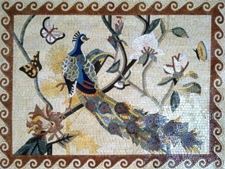 Sly Peacock Tile Mosaic Artwork