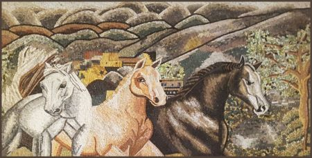 Galloping Horses Mosaic Artwork