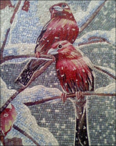 Red Birds Mosaic Art