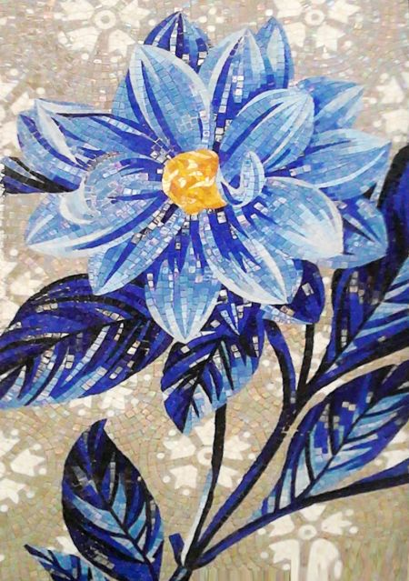 The Blue Dahlia Mosaic Artwork