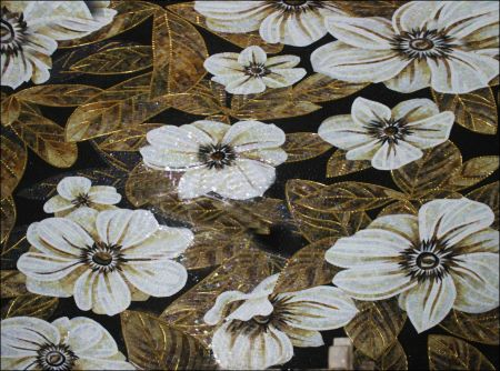 White Anemones Mosaic Artwork