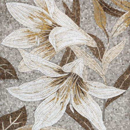 Easy-Going White Lilies Mosaic Design