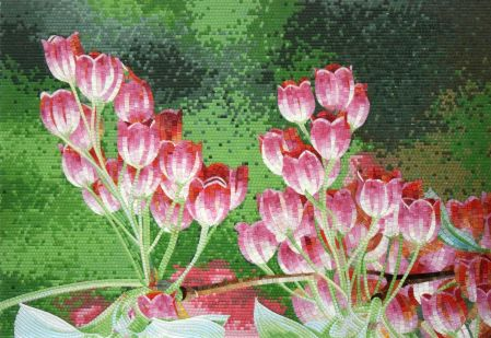 Tulip Fields Mosaic Art