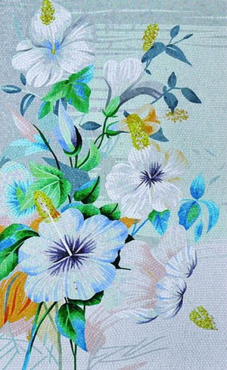 Blue Poppies Tile Mosaics