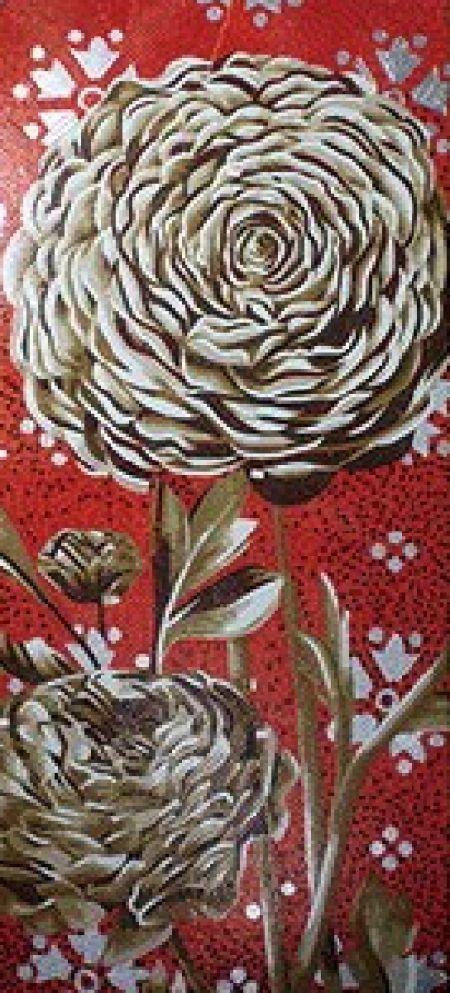 Peony Vs Rose Mosaic Wall Art