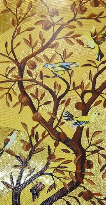 Birds on Gold Mosaic Art
