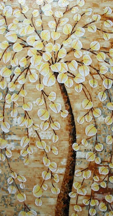 Gold-Leaf Tree Mosaic Art