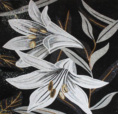 White Lilies Mosaic Wall Art