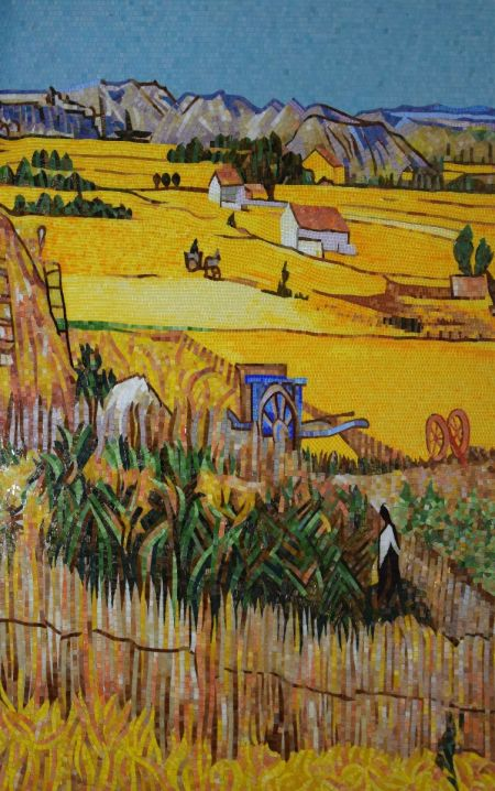Harvest at la Crau With Mont Majour in The Background reproduction