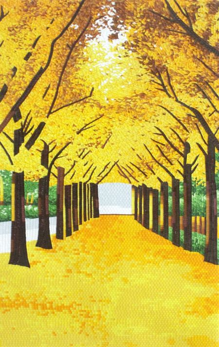 Fall Tree Tunnel Mosaic Art