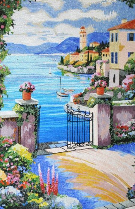 Mediterranean View Mosaic Mural