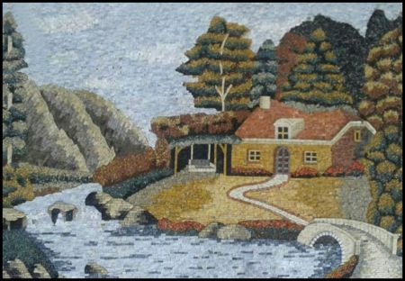 Woodland Cottage Mosaic Mural