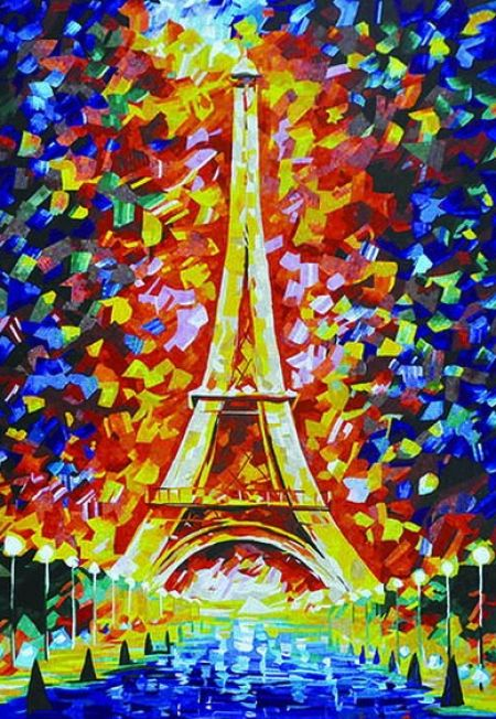 Eiffel Tower Contemporary Mosaic Artwork