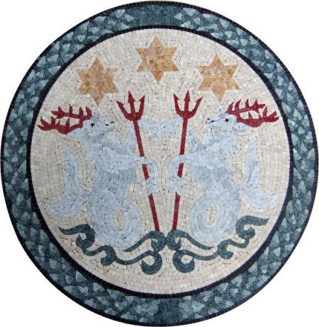 Oceanic Reindeers Mosaic Medallion Art