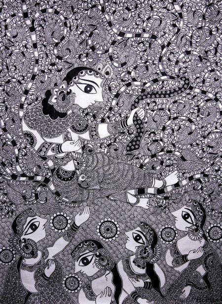 Krishna With Radha And Gopies Madhubani Art
