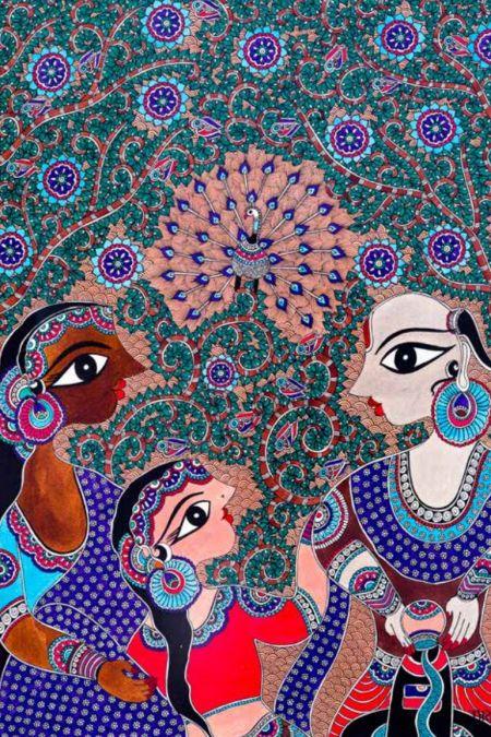 Worship of Shiva-Linga Madhubani Art