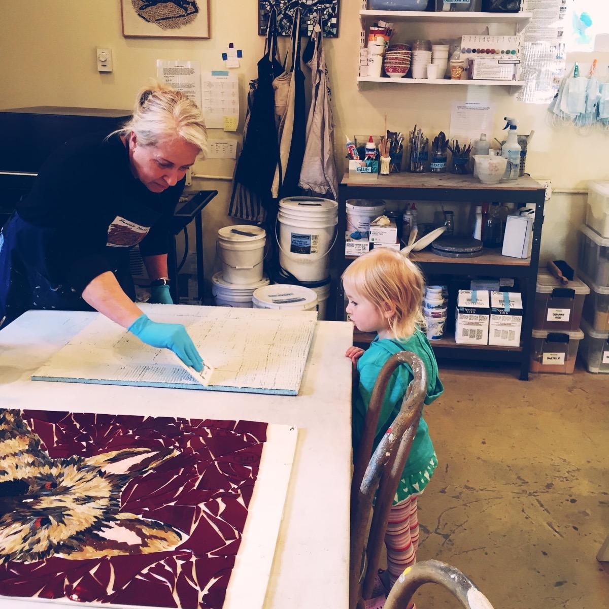 Check Pamela Mauseth  tile mosaic artwork and mosaic designs on mosaicslab.com