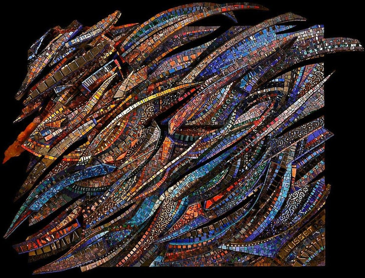Giulio Menossi Notturno | custom made tile mosaic design provided by Mosaics Lab on mosaicslab.com