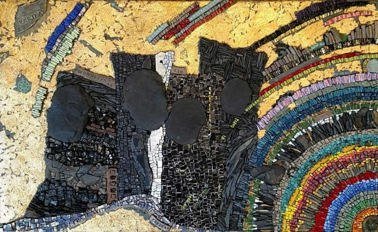 Rachel Sager Monolithic Kin | custom made tile mosaic design provided by Mosaics Lab on mosaicslab.com